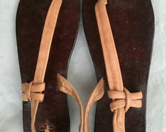 Handmade Leather slippers/sandals with single toe wedge  from Jamaica female size 4 to 11