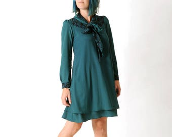 Womens green dress, Green and black dress with long sleeves and tie collar, Supple dress, Womens clothing, Womens dresses, MALAM size UK 10