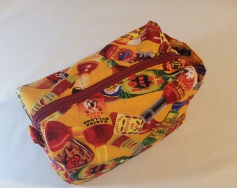 Toiletry Bag, Makeup Bag, Dopp Kit, Hot Sauce Gifts, Cosmetics Clutch, Travel Bag, Zip Pouch, Pencil Case, Snack Bag - Choose Size & Style