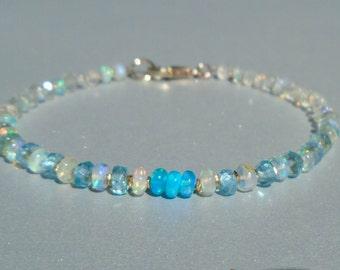 Opal Bracelet, Ethiopian Opal Bracelet, Aquamarine Bracelet, Apatite Bracelet, October Birthstone, Ombre Bracelet, Ombre, Dainty