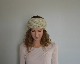 Knit Cable Head Band Warmer - Speckled Beige