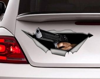 Gun car decal, Vinyl decal, 3D decal , Funny sticker , weapon decal