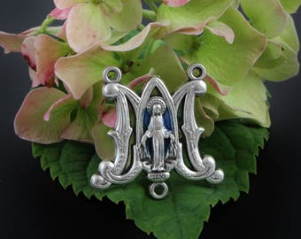 """Blue Enamel Miraculous Mary Rosary Center - 1"""" Ave Maria Silver Oxidized Rosary Centerpiece (H10)"""