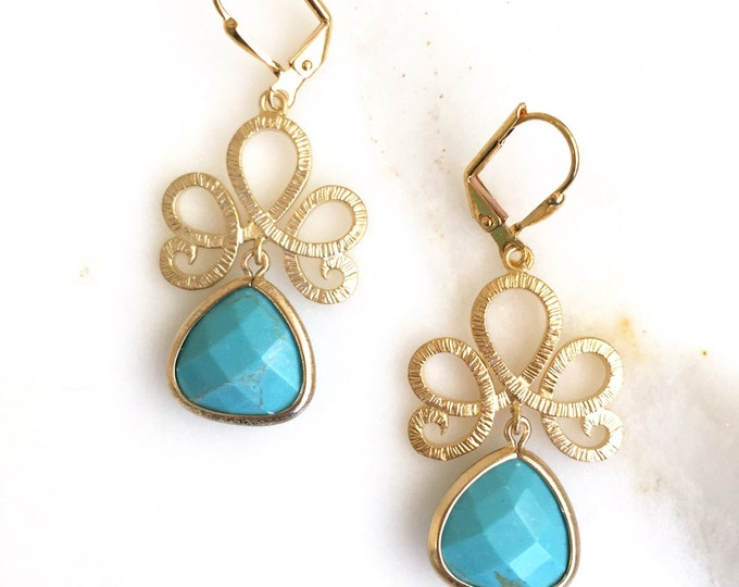 SALE - Turquoise Jewelry. Turquoise Stone Drop Earrings. Dangle Earrings. Bridesmaids Earrings. Jewelry Gift.  Turquoise Drop Earrings.