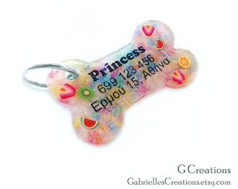 Fruit & Candy Sprinkles Bone Dog Tag - Night Glow - Personalized Custom Handmade Dog Pet ID - Resin - Colorful Glitter Collar Accessory