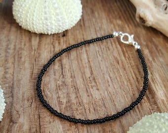 black anklet beach parties surfing vacation seed bead jewellery