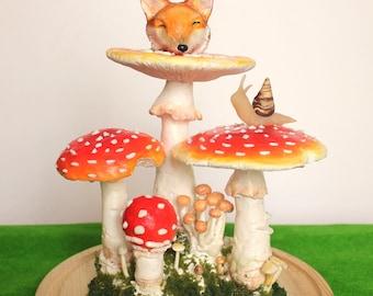 The Snail and the Fox - Giant fly agaric amanita mushroom and fox head terrarium