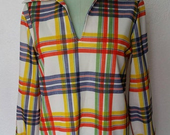 Vintage 1970s Pull Over Plaid Blouse M/L