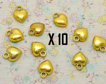 10 charms, love, gold metal