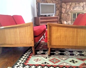 Rare Mid Century by Lawrence Peabody for Nemschoff  2 Piece Sectional Sofa Woven Cane Sides, Danish