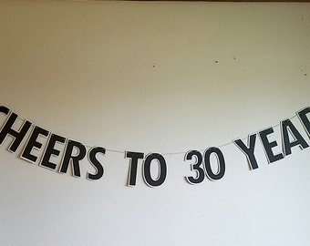 Cheers to 30 years. Beer birthday banner, 21st birthday decor, 30th birthday decor, beer decor, drinking party, thirsty thirty, dirty thirty