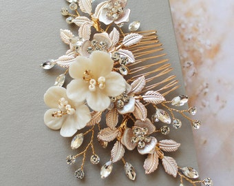 Boho Bridal Back Headpiece, Gold Crystal Flower Hair Comb , Wedding Hair  piece ,Wedding Hair comb ,Bridal hair accessories, Hairpiece