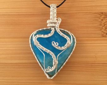 Silver wire wrapped lagoon blue hemimorphite pear drop triangle pendant necklace