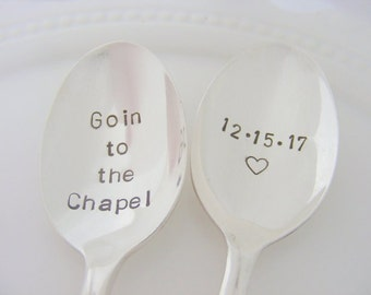 Goin to The Chapel Spoons Wedding Spoons Hand Stamped Wedding Spoons