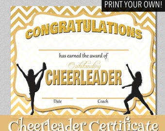 Editable cheerleader certificate instant download gold chevron cheerleader certificate print your own instant download yadclub Images