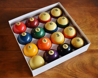 Aramith Belgium Resin Pool Balls, Complete Set Standard by Saluc Genuine Phenolic Resin Billiard Balls, Father's Day Gift Man Cave Game Room