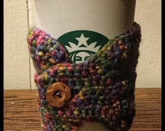 Multicolor Crocheted Coffee Cozy