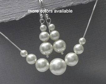 Swarovski White Pearl Bridal Jewelry Set, Bridesmaid Jewelry Set, Bridesmaid Gift, Mother of the Bride Gift, Mother of the Groom Gift