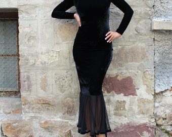 Velvet dress/ Black Gown/ Velvet Gown/ Homecoming dress/ Bodycon dress/ Elegant dress/ Cocktail dress/ Holiday dress/ Dressing gown/002.224