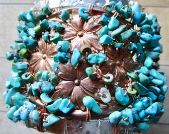 Turquoise & Vintage Copper Flower WONDER WOMAN Goddess Gemstone Bracelet - Cuff - Recycled Silver - Statement - catROCKS - OOAK - Woven