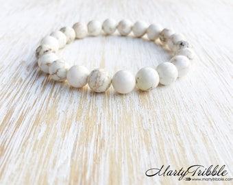 Creamy White Magnesite Bracelet, Earthy Gemstone Bracelet, Boho Jewelry, Stone Bracelet, Healing Bracelet, Energy Bracelet, Magnesite Beads