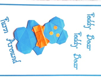 valentine card; origami teddy bear card; origami valentine card; love card; hand made card