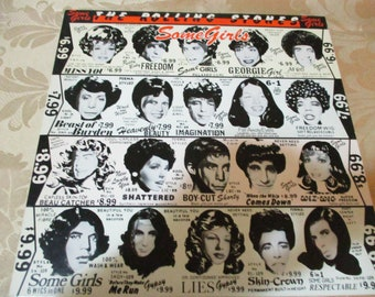 Vintage 1978 LP Record The Rolling Stones Some Girls 1st Issue With Diecut Cover Celebrity Faces Near Mint Condition 16551