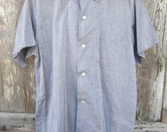 50s Grey Rockabilly Button-down Shirt by Campus, Men's M // Vintage Straight Bottom Short Sleeve Surfer Shirt // Camp Shirt