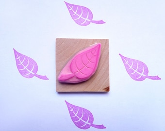 Tree leaf hand carved rubber stamp