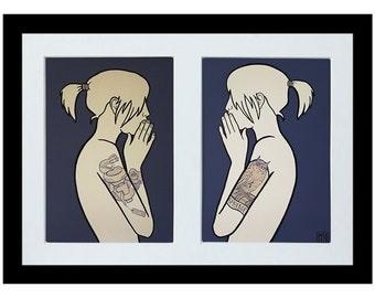 If I Could Talk 2 x A4 archival quality eco bamboo art prints by M R S illustration - Pair