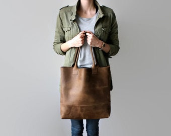 brown, distressed leather tote bag, leather tote, leather bag
