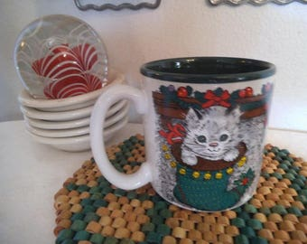 Christmas Scenes Mug Christmas Mischief ~ Kitty Cat and Dogs in Stockings ~ Vintage 1991 Potpourri Press Ceramic Collectible Coffee Cup