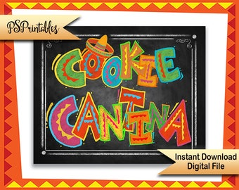 Fiesta Cookie Sign, Cookie Cantina, Mexican Party signs, Fiesta Party Decor, Fiesta Decorations, Cinco de Mayo Cookie sign Party Printables