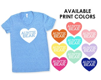 Auntie Bear with Heart TriBlend Heather Blue TShirt - Family Photos, Gift for Her, Announcement, Expecting, New Baby, New Aunt, Sister