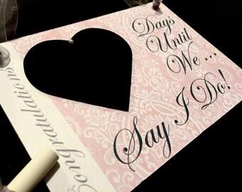 "Engagement gift For Couple, Fiancé gift keepsake,""Days Until..We Say I Do!"" (New Rose Quartz Lace Design) Wedding Countdown Sign!"