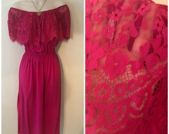 Beautiful Pink Mexican Style Lace Dress