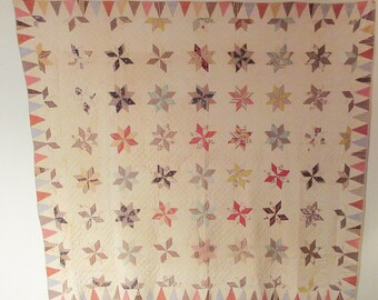 c1890 Feedsack Quilt 80x90 Alabama Free Star Block Pattern Summer Cotton Quilt
