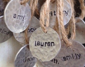 Tags, Charms, stamped metal tag, Bouquet charm, Name tags, favors, party decor, personalized tag, hand-stamped name