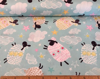Sheep Print Cotton Fabric, Quilting and Patchwork Fabric