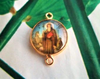 1 Cabochon glass Dome, 2 medium gold links Catholic connector
