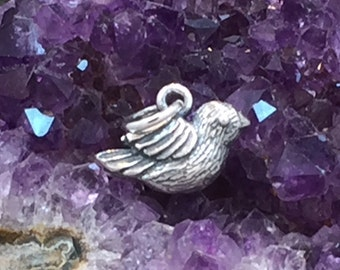 Bird Charm, Bird Pendant, Songbird Charm, Sterling Silver Bird Charm, Small, PS01262