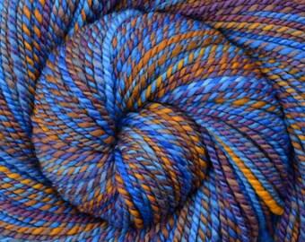 Handspun Yarn Worsted weight - AZTEC RUINS - Hand Dyed Superfine Merino wool, 210 yards, gift for knitter, hand spun yarn, weft yarn