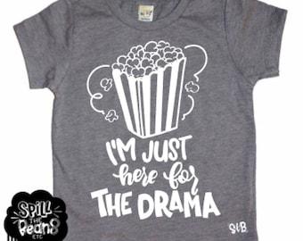 Funny Shirt, Drama, Popcorn Drama, Funny Clothes, Kids Clothes, Boy Shirt, Girl Shirt, Trendy Kids, Hipster Kids, Stylish Baby, Modern Kids