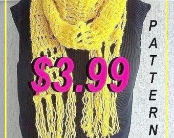 Crochet Pattern, Scarf, num. 92,  Long Skinny Banana Scarf with fringe, instant download