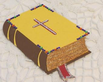 Rhinestone and Glitter Bible Diecut for Scrapbooking, Wall Decor or Church Bulletin Boards OOAK