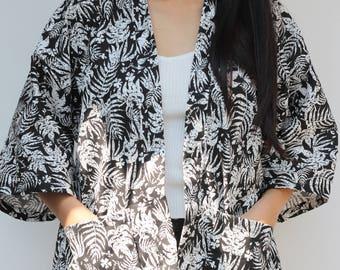 Kimono Jacket Kimono Cardigan Loose Simple Black leaves Abstract Modern
