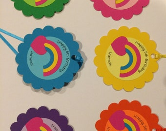 12 Rainbow Favor Tags (with message)