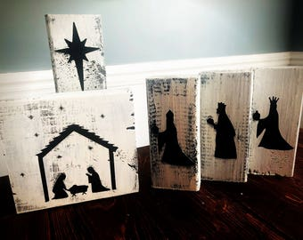 Hand-Painted 5-pc Nativity Set | Nativity Scene | Block Nativity | Manger Scene | Three Wise Men