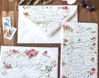 Wedding Invitation Set in Digital Calligraphy