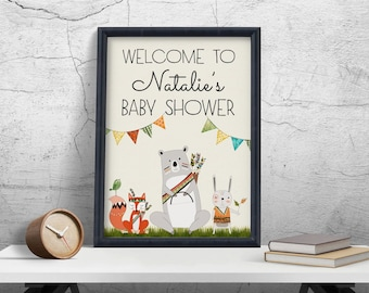 Baby Shower Welcome Sign, Woodland Baby Shower Decor, Woodland Birthday Welcome Sign Printable, Bear Fox Birthday Party Decoration